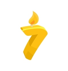 Birthday cake candle number seven icon vector image