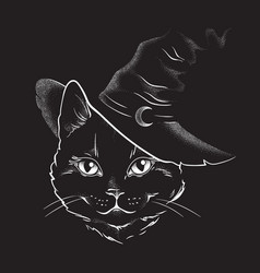 black cat with pointy witch hat line art vector image