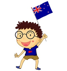 Boy and New Zealand flag vector image