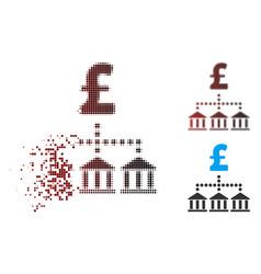 Broken pixel halftone pound bank scheme icon vector
