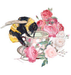 Bumble bee sitting on cup with roses vector
