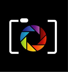 Camera with colorful aperture- photography logo vector image