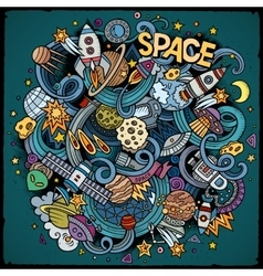 Cartoon hand-drawn doodles space vector