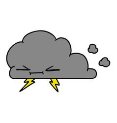 Cartoon of a grumpy lightening cloud vector