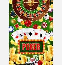 casino poker wheel fortune roulette gambling vector image