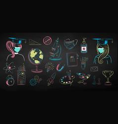 Chalk drawn education set vector