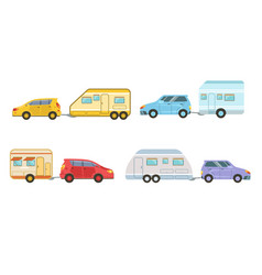 collection cars with trailers trailering vector image