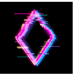 Colorful glitch rhombus geometric shape frame vector