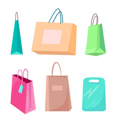 colorful packages set purchases collection poster vector image