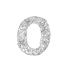 Coloring book ornamental alphabet letter o font vector
