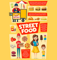 Consumers and sellers street food delivery vector