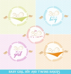 Cute Baby Girl Boy and Twins Design Elements vector