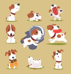 Cute little puppy in his evereday activity set vector