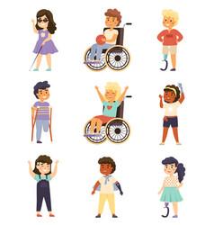 Disability kids cute handicapped children vector