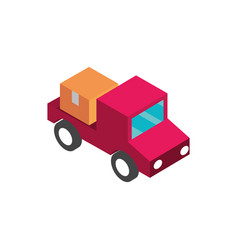 Farm pick up vehicle with box rural isometric icon vector