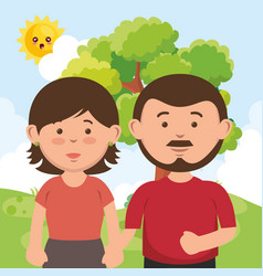 father and mother on the park vector image