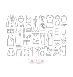 Flat clothes icons vector