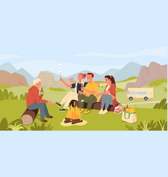 friend people cook marshmallow on camp picnic vector image