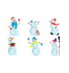 funny snowmen set winter christmas humanized vector image