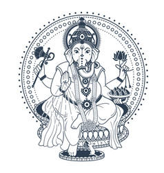 Ganesh puja linear style icon black vector