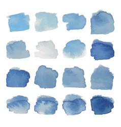 gray-blue blots watercolor set vector image