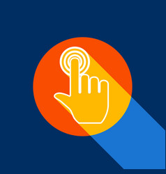 hand click on button white icon on vector image