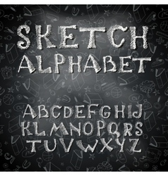 Hand drawing alphabet and numbers vector