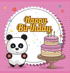 Happy birthday card with bear teddy vector