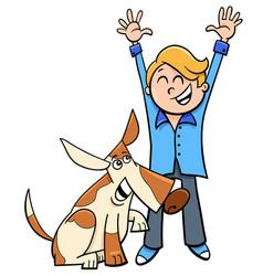happy boy with dog cartoon vector image