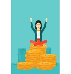 Happy business woman sitting on coins vector