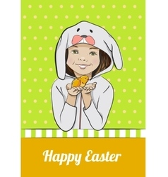 Happy Easter cartoon card with girl and chick vector image