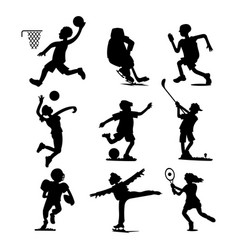 health sport black silhouette wellness flat people vector image