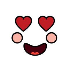 Heart eyes love face emoji icon image vector
