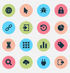 Interface icons set with diagram log in globe vector