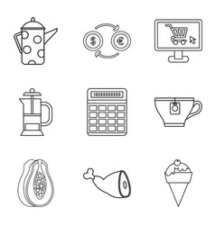 internet coffee shop icon set outline style vector image