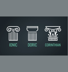 Ionic doric and corinthian icons in lineart style vector