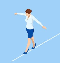 Isometric business woman tightrope walker vector