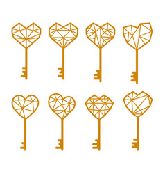 key is in shape a heart set of vector image