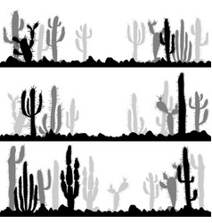 Landscapes with silhouettes cactuses and stones vector