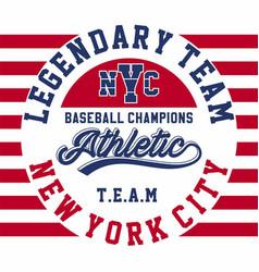 legendary team baseball vector image
