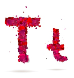 Letter t made from hearts Love alphabet vector