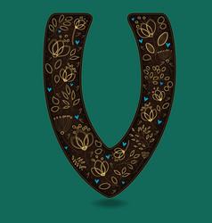 letter v with golden floral decor vector image