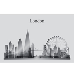 London city skyline silhouette in grayscale vector