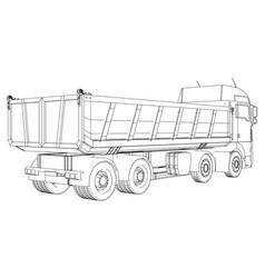 Lorry dumper truck tracing of 3d vector