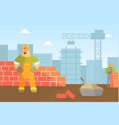 male builder buiding brick wall construction vector image