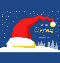 merry christmas card with red santa hat winter vector image