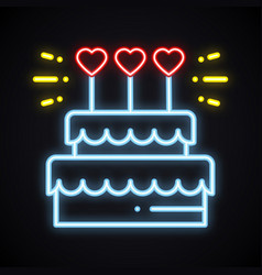 neon cake sign with heart candles light sweets vector image
