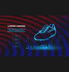 Neon football boot outline soccer boot for vector