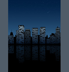 night city skyline cityscape background vector image