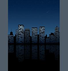 Night city skyline cityscape background vector
